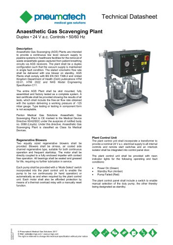 AGSS Anaesthetic Gas Scavenging Systems - Duplex