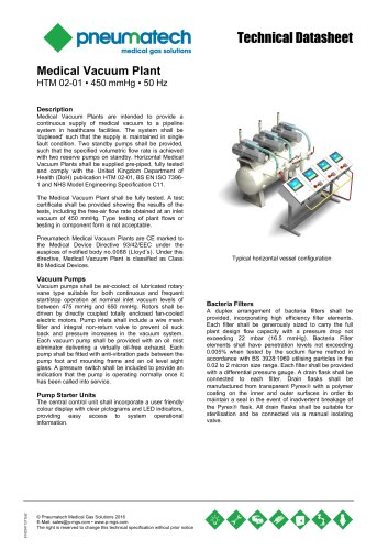 Lubricated Rotary Vane Vacuum Systems - HTM 02-01 - 50 Hz