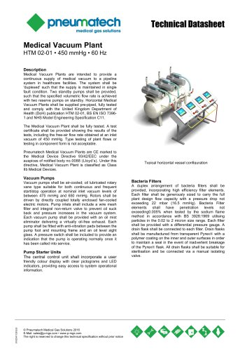Lubricated Rotary Vane Vacuum Systems - HTM 02-01 - 60 Hz