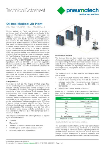 Oil-Free Scroll Medical Air Systems 60 Hz