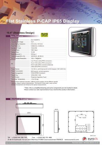 Flat Stainless P-CAP IP65 Display