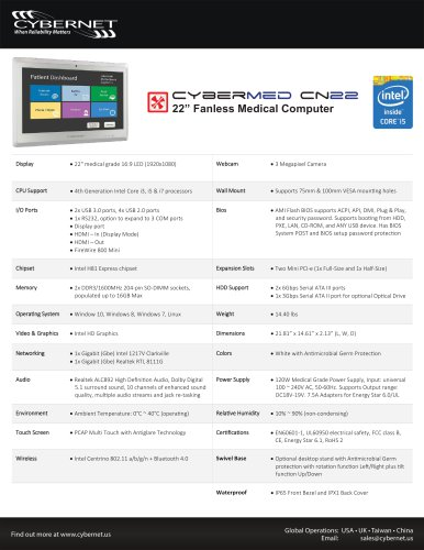 """22"""" Fanless All in One Medical Computer - CyberMed CN22"""