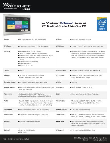 """22"""" Medical Grade All in One PC - CyberMed C22"""