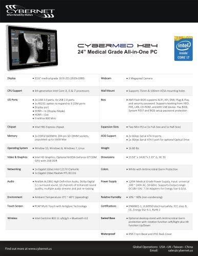 """24"""" All in One Medical PC - CyberMed H24 Medical PC"""
