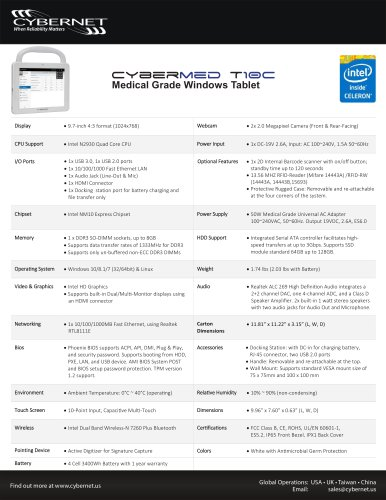 """9.7"""" Medical Tablet PC - CyberMed T10C"""