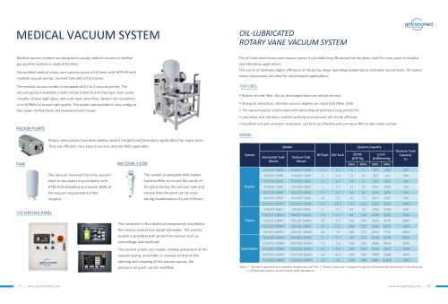 Amcaremed Medical vacuum system catalogue