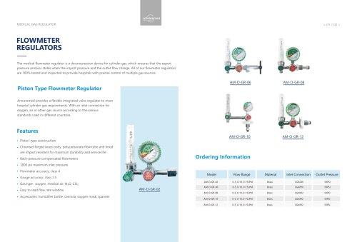 AmcareMed Oxygen Regulator Catalogue