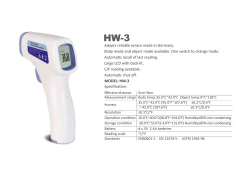 HW-3 SIMZO Medical infrared forehead  thermometer