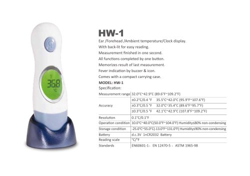 SIMZO Medical Infrared ear and forehead thermometer HW-1