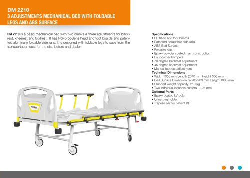 ADJUSTABLE BED WITH FOLDABLE LEGS AND ABS SURFACE