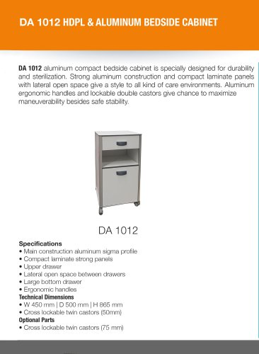 COMPACT LAMINATE AND ALUMINUM BEDSIDE CABINET