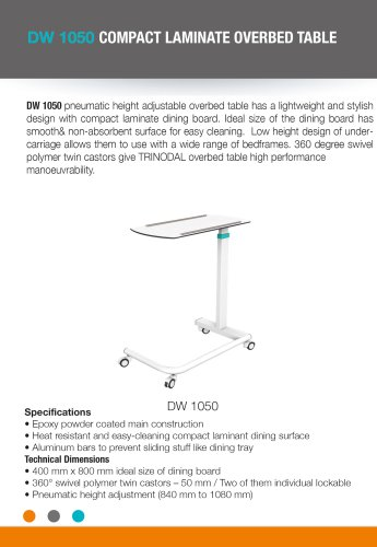 COMPACT LAMINATE OVERBED TABLE
