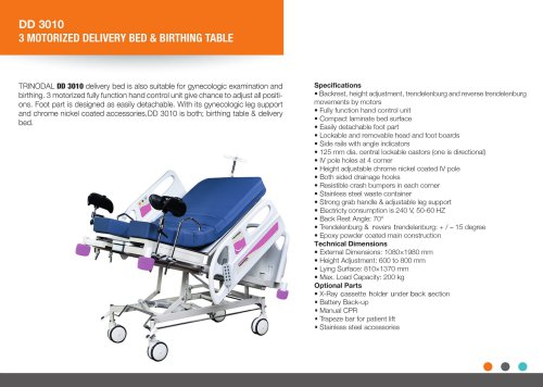 DELIVERY BED AND BIRTHING TABLE ELECTRIC 4 MOTORIZED