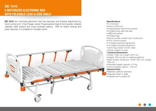 ELECTRIC 2 FUNCTION HOSPITAL BED WITH FOLDABLE LEGS AND SIDERAILS