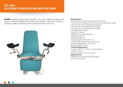 ELECTRIC GYNECEOLOGIC AND OBSTETRIC CHAIR