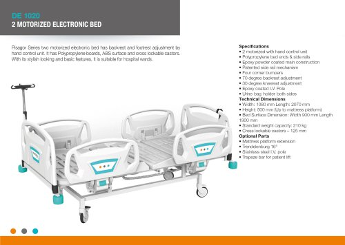 ELECTRIC HOSPITAL BED WITH 2 FUNCTIONS, POLYPROPYLENE SIDERAIL ABS SURFACE