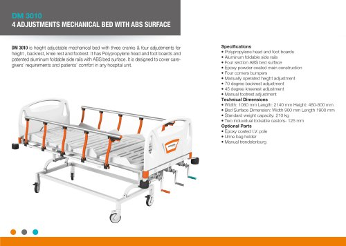 FOUR ADJUSTMENTS MANUAL BED WITH ABS SURFACE