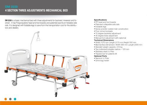 FOUR SECTION THREE ADJUSTMENTS MECHANICAL BED