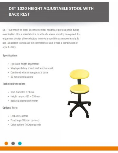 HEIGHT ADJUSTABLE STOOL WITH BACK REST