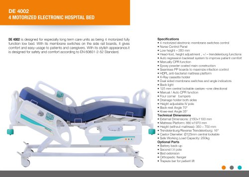 LOW HEIGHT ELECTRIC HOSPITAL BED 4 MOTORIZED