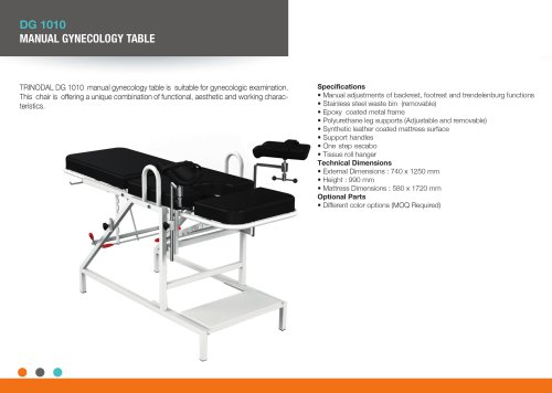 MANUAL GYNECOLOGYCAL EXAMINATION TABLE