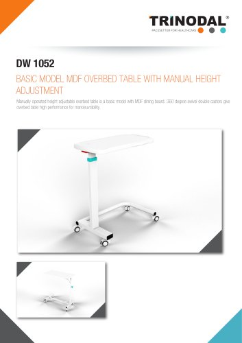 MDF OVERBED TABLE WITH MANUAL HEIGHT ADJUSTMENT