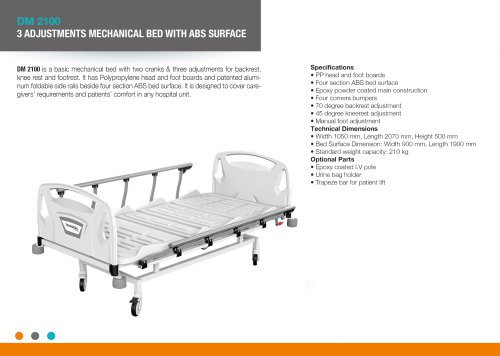 THREE ADJUSTMENT MANUAL BED WITH ABS SURFACE