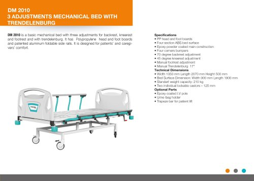 THREE ADJUSTMENT MECHANICAL BED WITH TRENDELENBURG