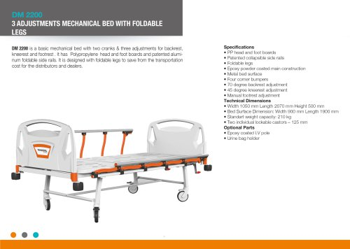 THREE ADJUSTMENT MECHANICAL BED WITH FOLDABLE LEGS