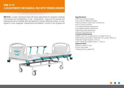THREE ADJUSTMENTS MANUAL BED WITH TRENDELENBURG