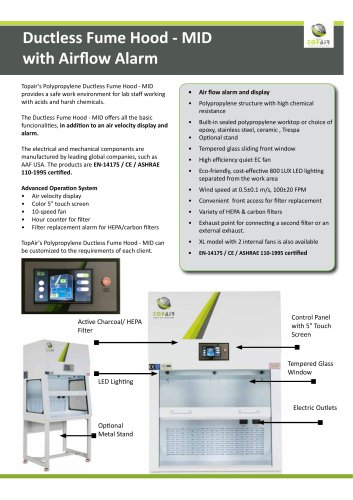 Ductless Fume Hood - MIDwith Airflow Alarm
