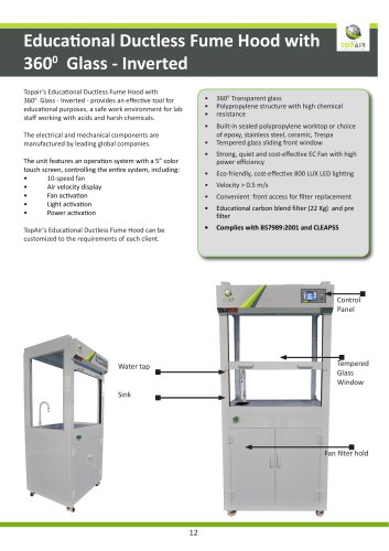 Educational Ductless Fume Hood with3600  Glass - Inverted