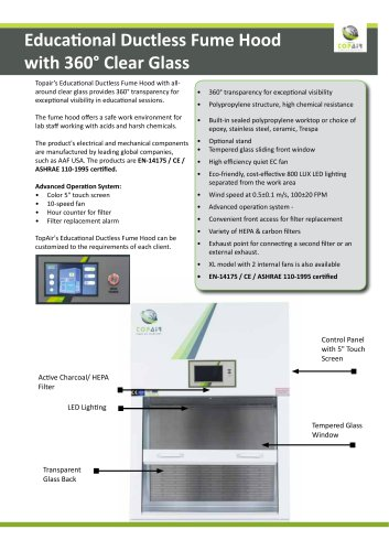 Educational Ductless Fume Hoodwith 360° Clear Glass