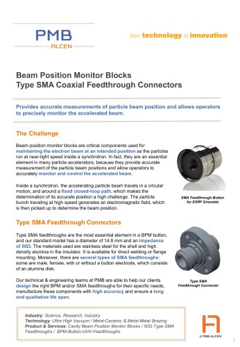Beam Position Monitor Blocks Type SMA Coaxial Feedthrough Connectors