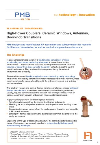 High-Power Couplers, Ceramic Windows, Antennas, Doorknob Transitions