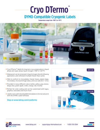Dymo Compatible Cryogenic Labels