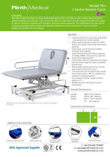 Model 50+ 2 Section Bariatric Couch