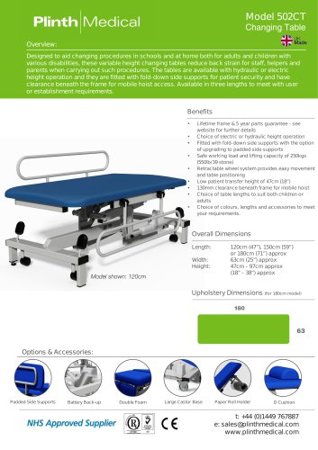 Model 502CT Changing Table