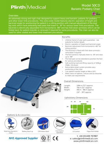 Model 50CD Bariatric Podiatry Chair