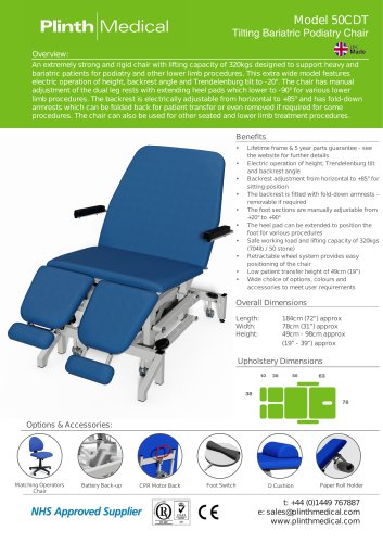 Model 50CDT Tilting Bariatric Podiatry Chair