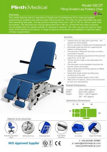 Model 93CDT Tilting Divided Leg Podiatry Chair