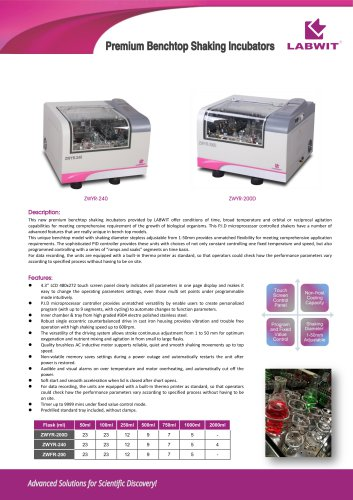 Premium benchtop shaking incubators