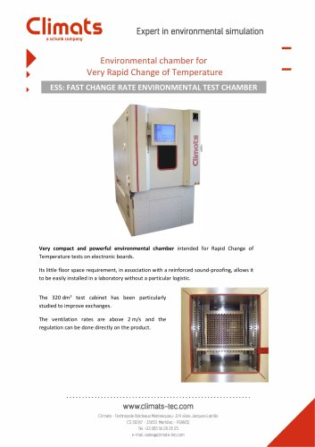 Environmental chamber for  Very Rapid Change of Temperature