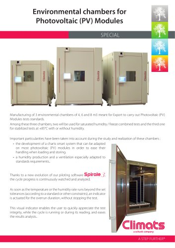 Environmental chambers for Photovoltaic (PV) Modules