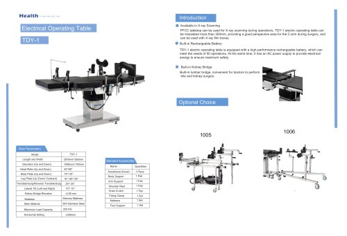 Catalog Electric Operating Table TDY-1
