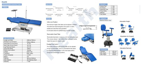 Catalog Ophthalmic Operating Table TDG-2