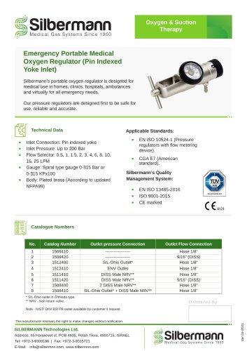 Emergency Portable Medical Oxygen Regulator