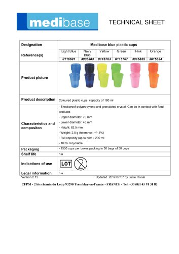 Medibase blue plastic cups