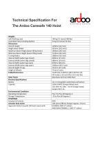 Technical Specification For The Ardoo Caresafe 140 Hoist