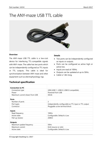 The ANY-maze USB TTL cable